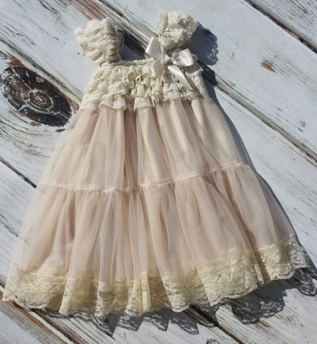 Champagne Chiffon Girls Dress- Flower Girl Dresses- Cream