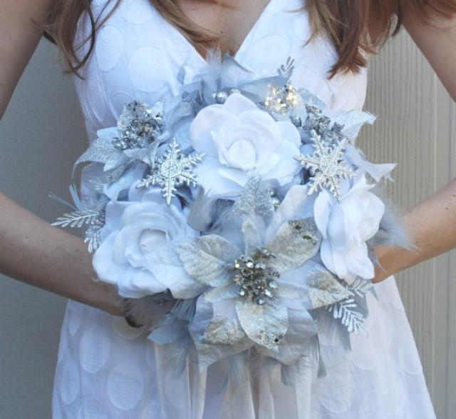 Dramatic Winter Wonderland Feathers Flowers Bridal Bouquet White