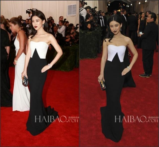 Fashion 2015 Evening Dress Mermaid Black And White Train Sweep Met ...