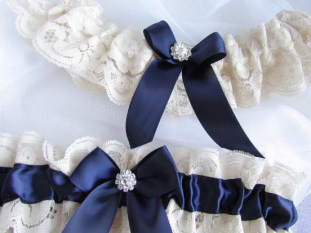 Wedding Garter Set Ivory Lace And Navy Blue Bridal Garter Set With ...