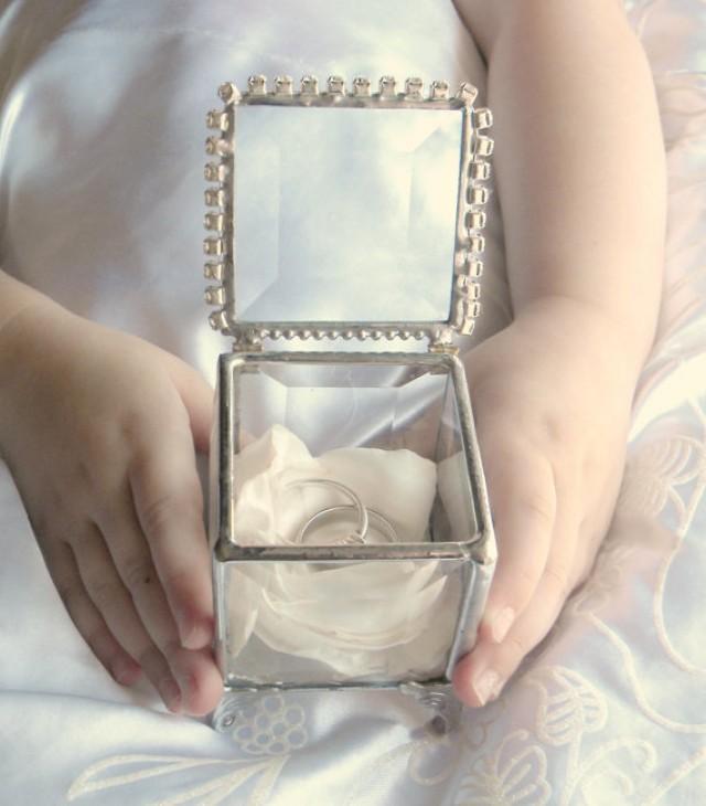 Ring Bearer Pillow Alternative Glass Box Rhinestone Ring Pillow