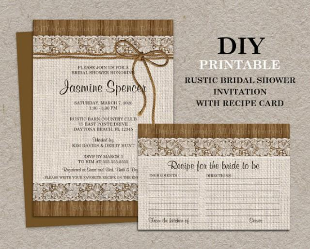DIY Printable Rustic Bridal Shower Invitation With Recipe Card Burlap And Lace Cards 2294716