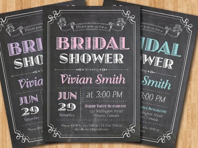 Chalkboard Wedding Invitations: Chalkboard Bridal Shower Invitation. Wedding Shower. Pink