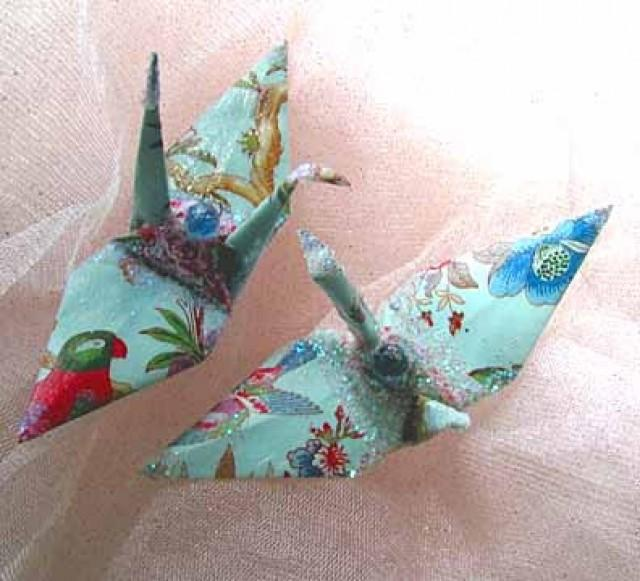 Blue Garden Peace Crane Wedding Cake Topper Party Favor Origami