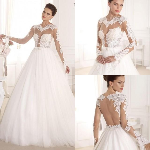 White And Black Lace Wedding Dresses 2015 Spring Applique: Tarik Ediz White Wedding Dresses 2015 Sexy Sheer Scoop