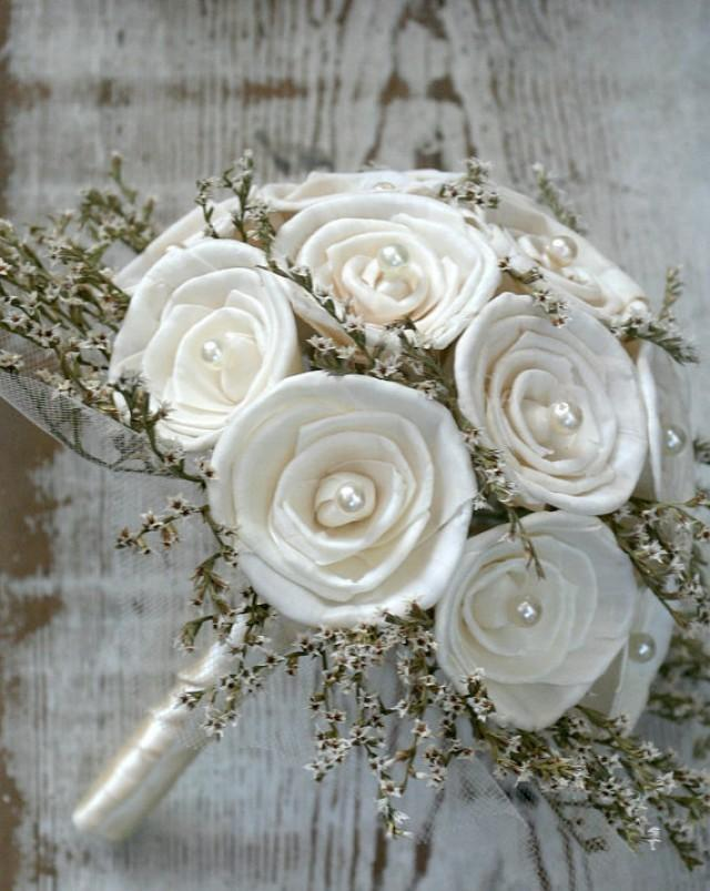 Simple Soft White And Sola Rose Wedding Bouquet - Soft White ...