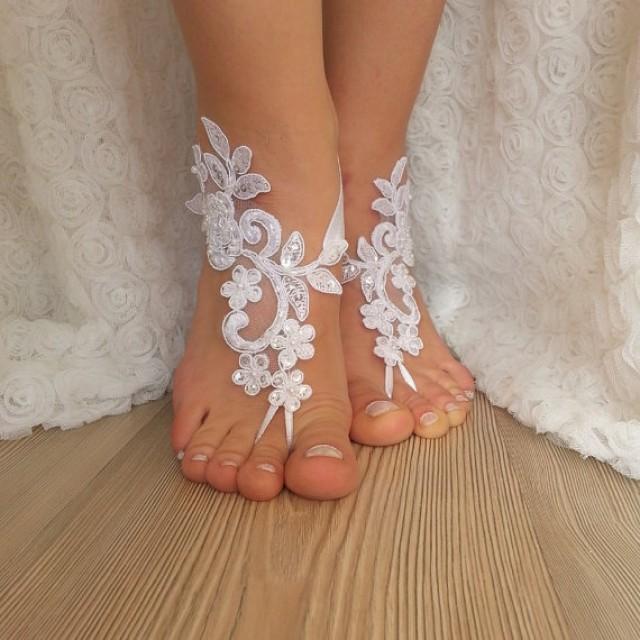 Barefoot Sandals Wedding: White Lace Barefoot Sandals Wedding Barefoot , Flexible