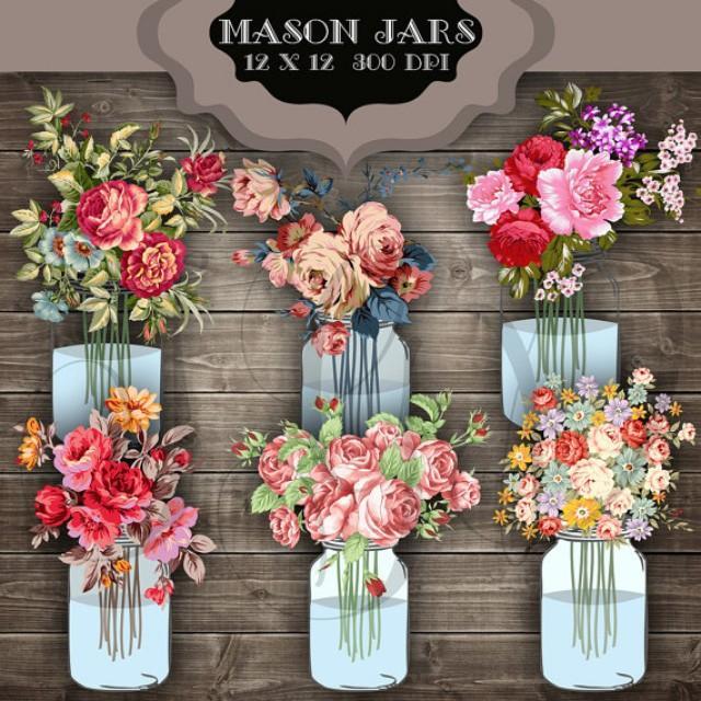Wedding Flowers In Mason Jars: Wedding Clip Art Mason Jar Bouquet Digital Clipart