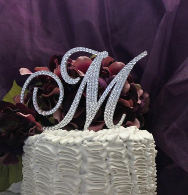 monogram cake topper 5 swarovski wedding cake topper