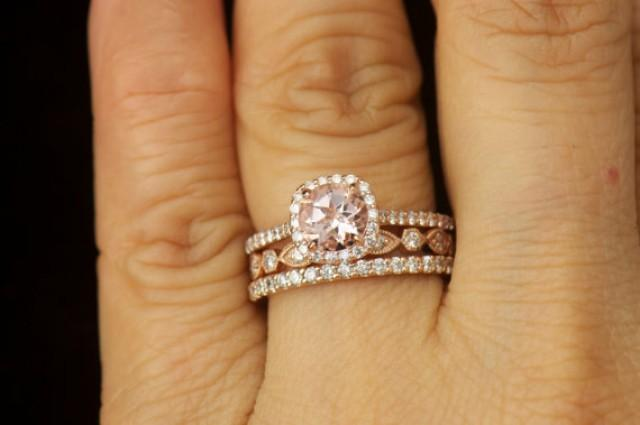 matching ring set kylie b morganite and diamond halo engagement ring natalie petite addison diamond wedding band 2296728 weddbook - Wedding Band For Halo Engagement Ring