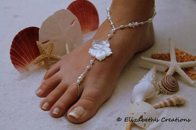 Barefoot Sandal Simply Elegant Mother Of Pearl White