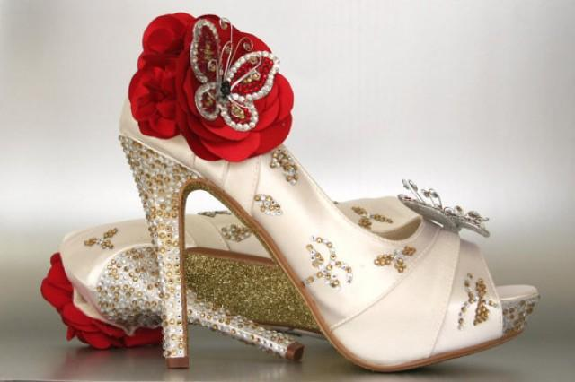 Custom Wedding Shoes Ivory Peep Toe With Silver Gold Rhinestones Glitter Sole And Red Rhinestone Butterflies 2296750