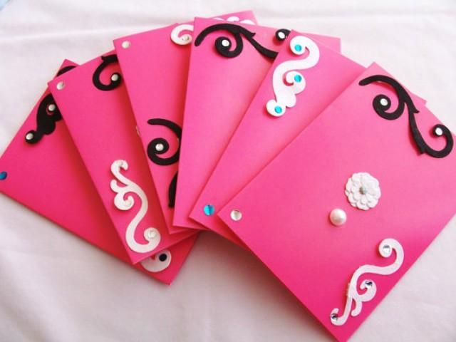 Set of 6 hot pink stationery cards and envelopes hot pink cards set of 6 hot pink stationery cards and envelopes hot pink cards birthday party invitations handmade stationery wedding invites 2296760 weddbook filmwisefo