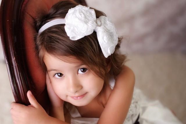 White Rosette Children Kids Wedding Flower Girls Bridesmaids Headband Hair Band