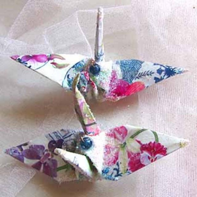 Purple Orchid Wedding Cake Topper Favor Origami Christmas Ornament Japanese Paper Bird Blue White Ware 2297266