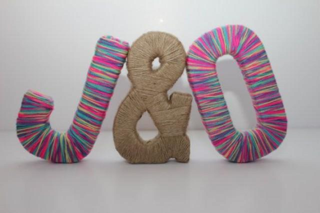 8 Free Standing Personalized Paper Mache Letters With Multicolored