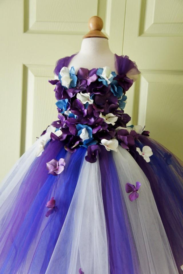 Flower Girl Dress Tutu Dress Photo Prop In Purple Blue And Ivory