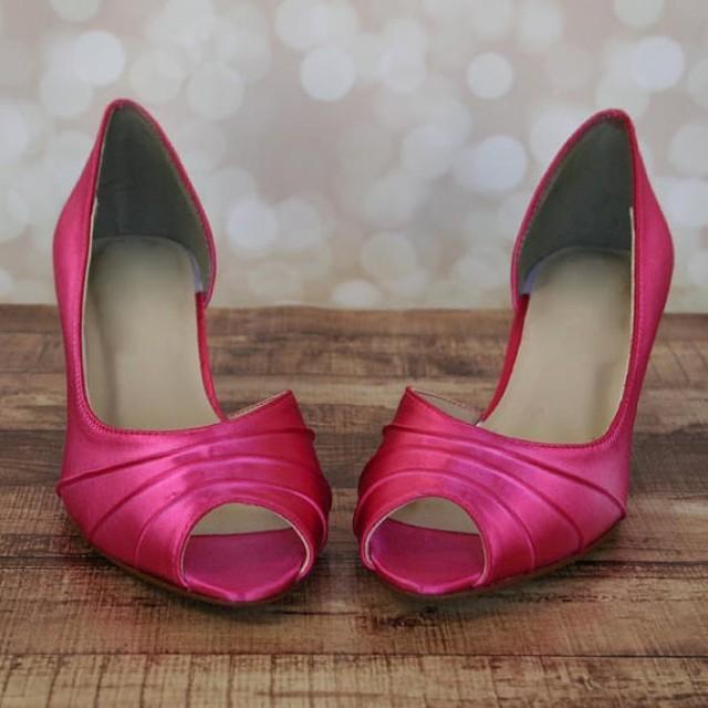 Fuschia Low Heel Wedding Shoes: Custom Wedding Shoes -- Fuschia Kitten Heel Peep Toe