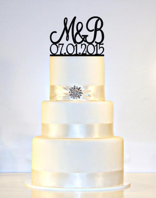 Wedding Cake Topper Monogram Personalized With YOUR First Initials Date 2297977