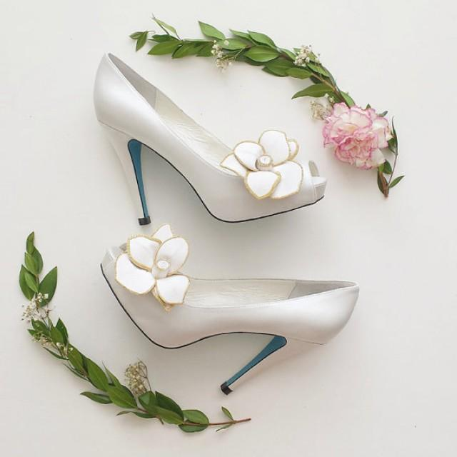 Something Blue White Peep Toe Bridal Wedding Shoes Pumps With