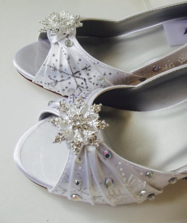 wedding shoes snowflakes shoes rhinestones white winter