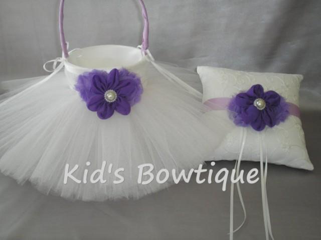 CUSTOM LISTING 2 Wedding Flower Girl Tutu Baskets And 1 Matching Ring Bearer Pillow Purple Lavender Flowers 2298540