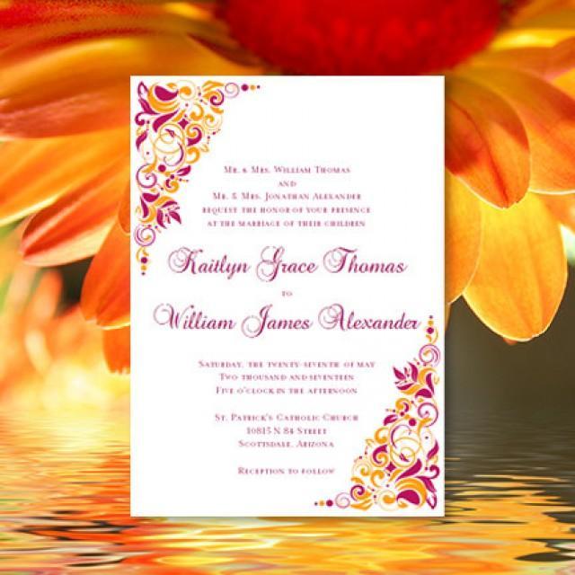 Printable Wedding Invitation Gianna Sangria And Orange Template