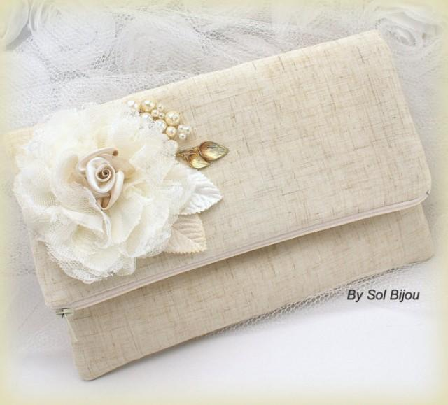 bridal linen clutch wedding handbag bag shabby chic. Black Bedroom Furniture Sets. Home Design Ideas