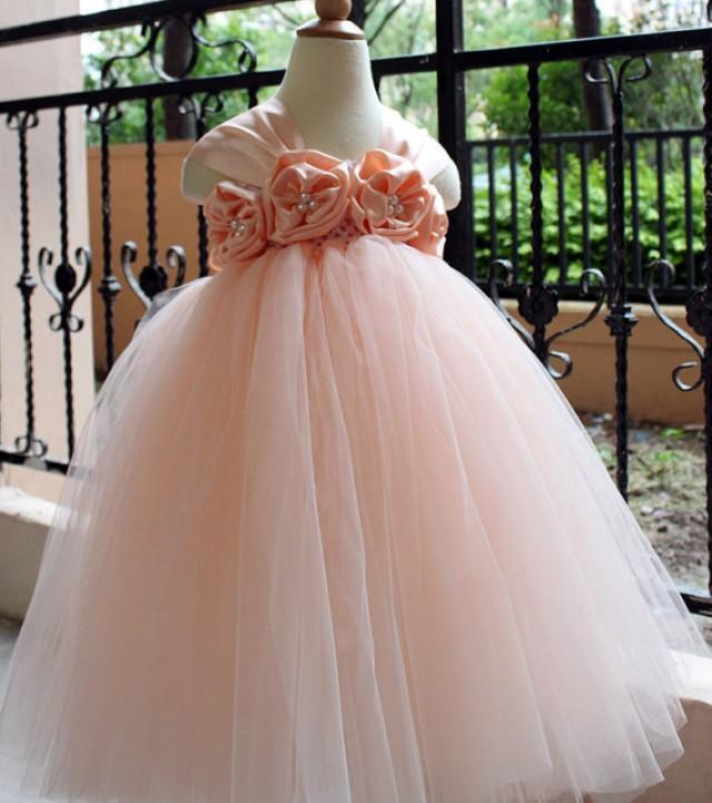 Flower Girl Dress Pear Peach Tutu Baby Toddler Birthday Wedding 1T 2T 3T 4T 5T 6T 9T 2298647