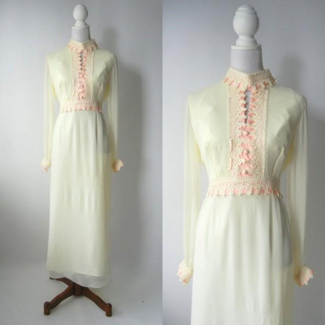 Vintage 1960s Wedding Dresses: Vintage 1960s Dress, Retro 60s Maxi Dress, Off White Silk