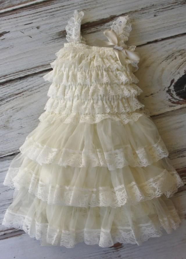 Ivory Chiffon Girls Dress Flower Girl Dresses Vintage