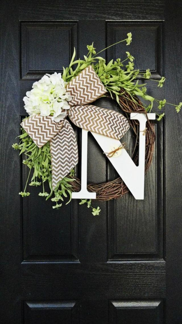 Year Round Grapevine Red Hydrangea And Chevron Burlap Wreath, With Curly  White Monogram Initial, Fall Burlap Wreath, Wreath With Monogram #2298985    ...