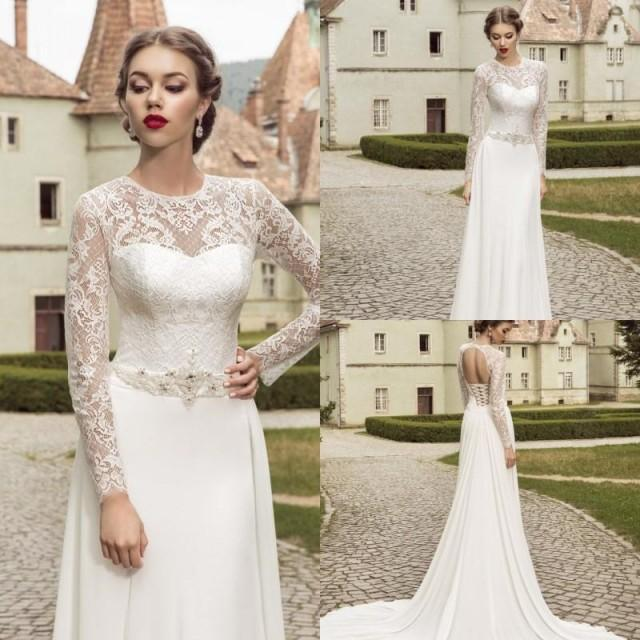 Vintage 2015 spring jewel lace wedding dresses illusion for Vintage beaded lace wedding dress