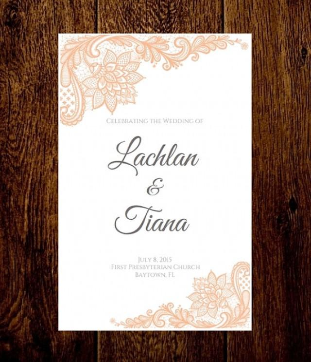 Peach Lace Wedding Program Folded Wedding Program Printable ...