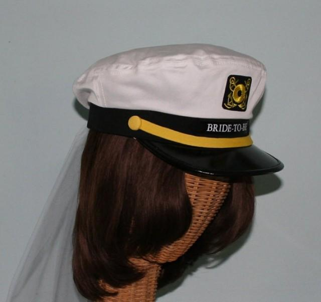 01dff00c3f Personalized CAPTAIN S Hat w  VEIL perfect for Nautical Bridal Shower