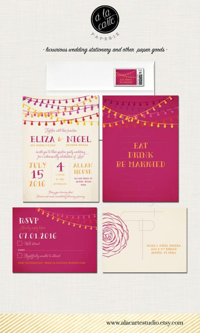 Fiesta Wedding Invitation And RSVP Postcard - Mexican-themed ...