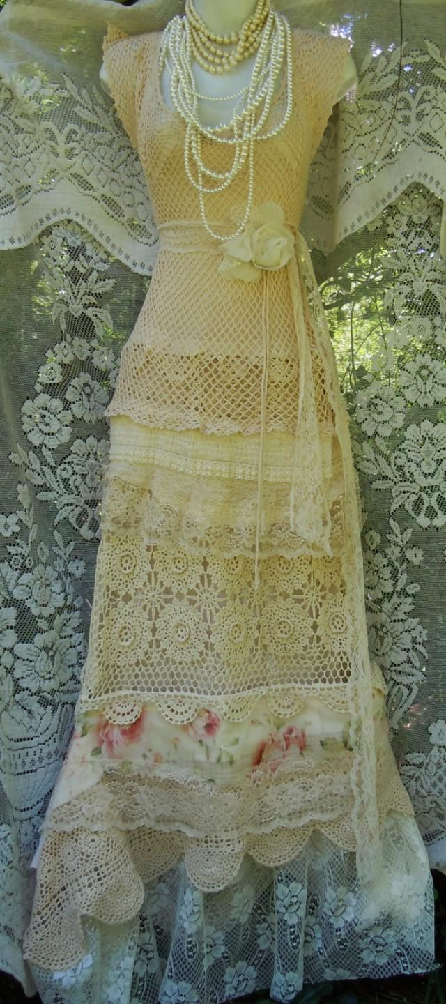Cream Wedding Dress Crochet Lace Tulle Floral Roses Boho