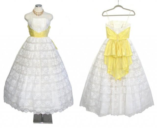 1950s Prom Dress Vintage White Wedding Gown With Yellow Sash XS ...