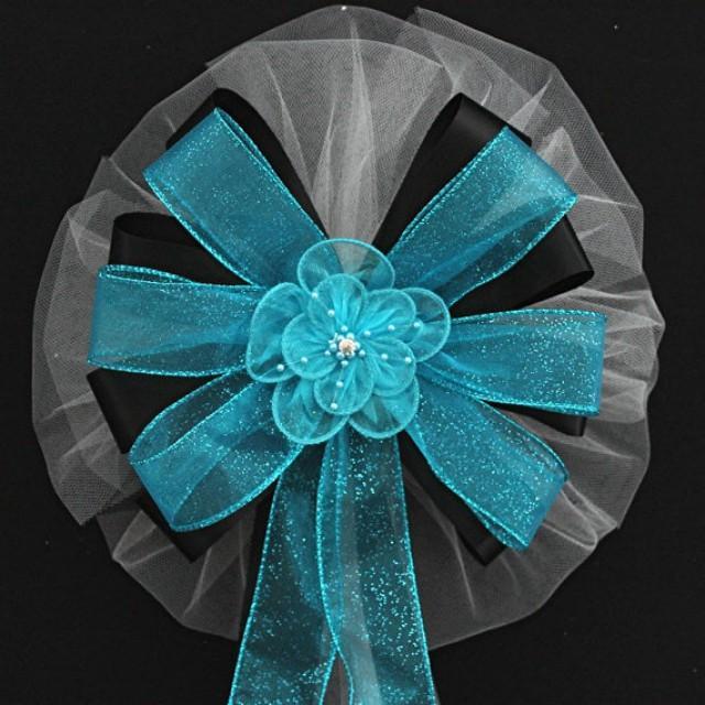 Turquoise Ribbon Flower Sparkle Black Wedding Bows Pew Ceremony