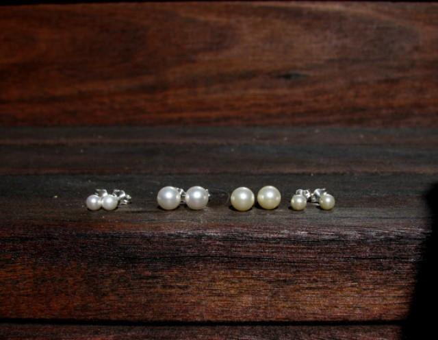 14k Or Sterling Pearl Stud Earrings Gold 6mm 4mm Small Sweet 16 Ear Studs Wedding Jewelry Bridesmaids Gifts 2299905