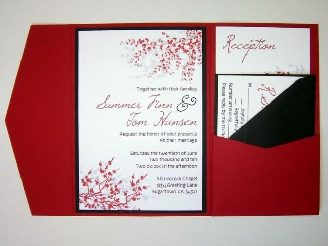 Wedding Invitation Diy Pocketfold Cherry Blossom