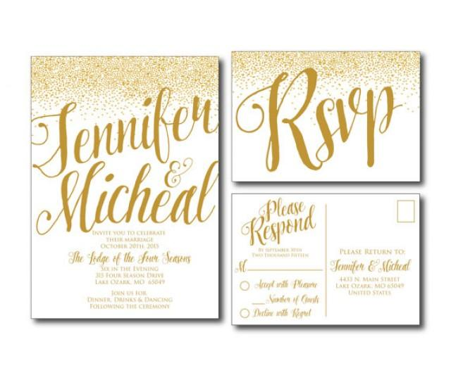 Wedding Invitations With Postcard Response Cards: Gold Wedding Invitation