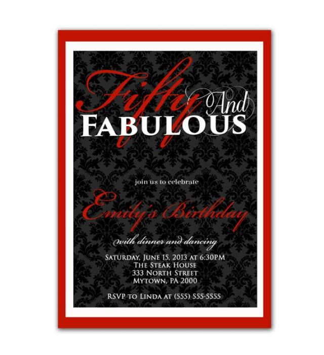 Fifty And Fabulous Damask Birthday Invitation Red 40th ... - photo#17