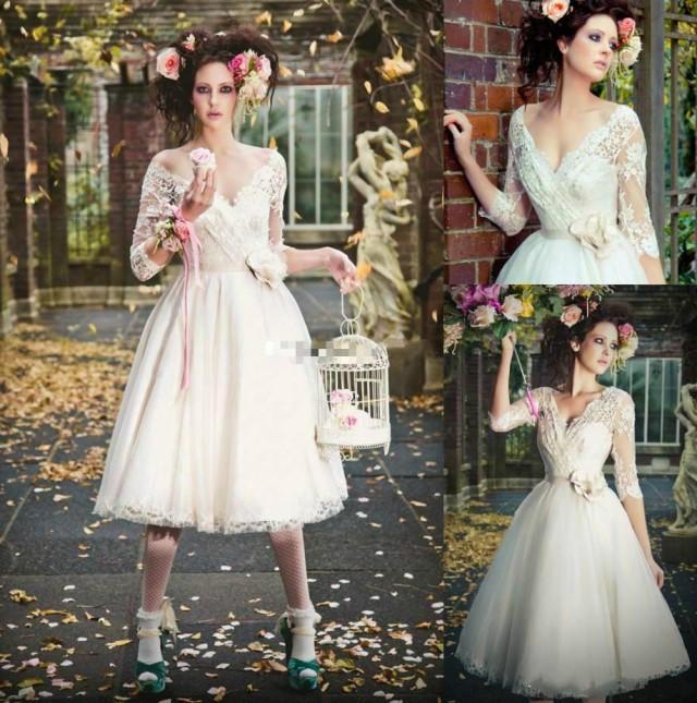 Elegant Long Sleeve Tea Length Wedding Dresses Simple: Elegant 3/4 Long Sleeve Short Wedding Dresses Sheer Tea