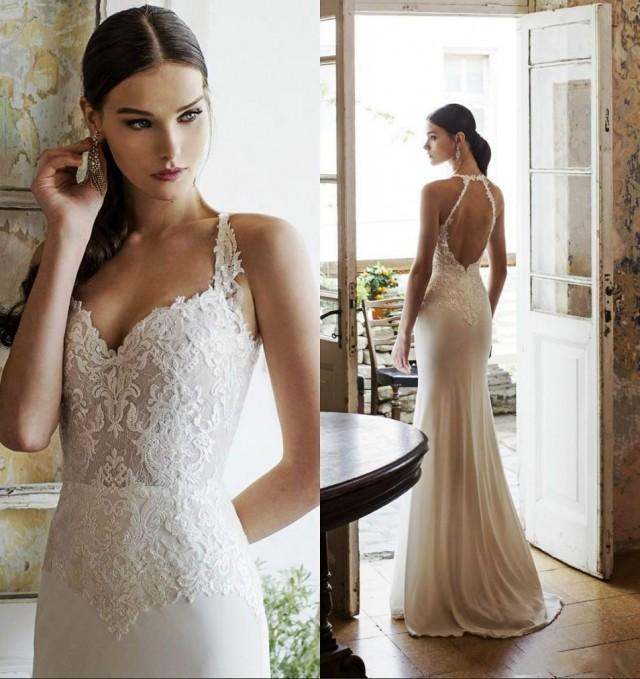 2015 Vadim Margolin Wedding Dresses Spring Summer Mermaid Lace Spaghetti Backless Chiffon Beach Simple Gowns Sexy Bridal Dress Online With