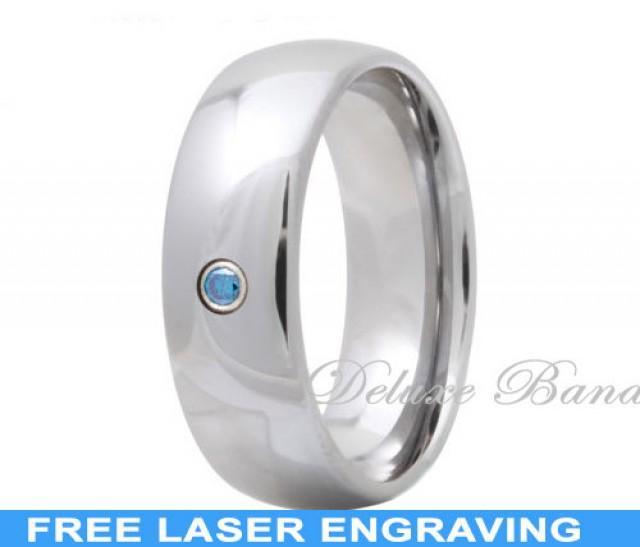 Tungsten Wedding Ring Aquamarine Wedding Band March Birthstone Tungsten Band Mens Tungsten Ring Engagement Ring Handmade Free Engraving 2301609 Weddbook