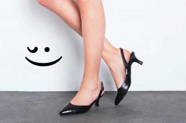 06a8c93e654 Sale 30% Off Women Balck Slingback Shoes - Kitten Heel Golden Shoes ...