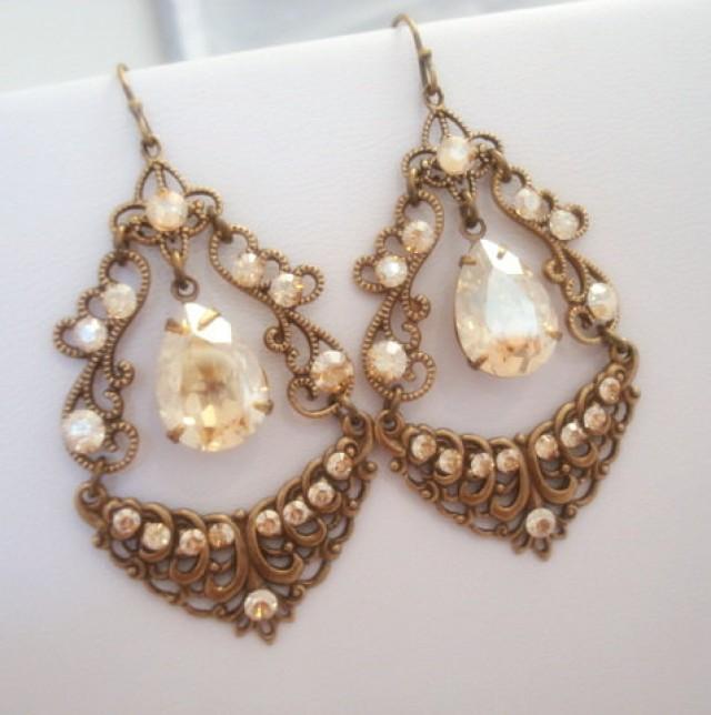Vintage Chandelier Earrings, Bridal Earrings, Wedding Jewelry, Antique  Brass Earrings, Rhinestone Earrings, Swarovski Crystal Earrings #2301653 -  Weddbook - Vintage Chandelier Earrings, Bridal Earrings, Wedding Jewelry
