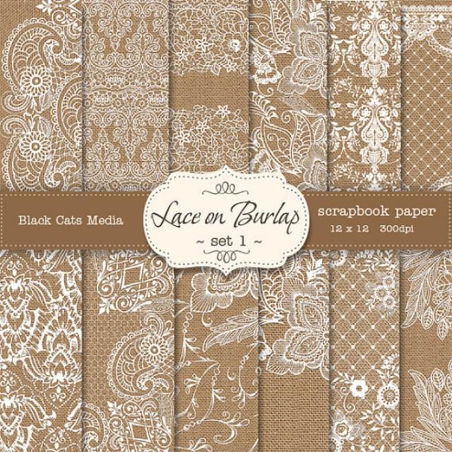 Burlap And Lace Digital Paper: Burlap Wedding Invitation ...