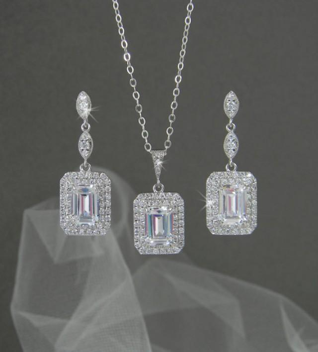 d15ed9d26 Emerald Cut Bridal Earrings, Square Halo Crystal Wedding necklace, Swarovski  Bridal Jewelry, Bridal Jewelry SET, Wedding jewelry, Morgan SET